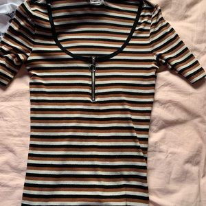 3 for $15 stripped tee with zipper